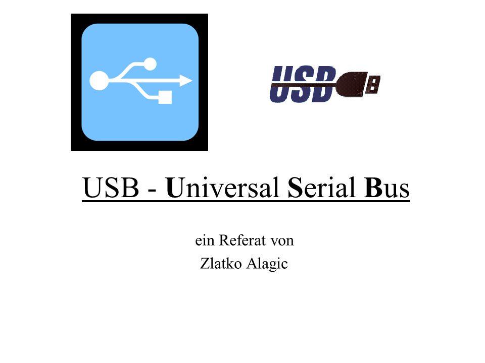 USB-Hubs USB-Gerät, welches lediglich das USB-Signal an zusätzliche Ports weiterleitet Self-Powered (externer Strombezug) Hubs haben den Vorteil, dass jedes an sie angeschlossene Gerät bis zu 500 mA Strom beziehen kann Bus-Powered (interner Strombezug) Hubs dürfen mit allen an ihn angeschlossenen Geräten gemeinsam maximal 500 mA beziehen