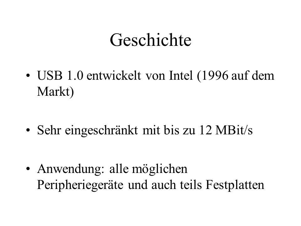Geschichte USB 1.0 entwickelt von Intel (1996 auf dem Markt) Sehr eingeschränkt mit bis zu 12 MBit/s Anwendung: alle möglichen Peripheriegeräte und au