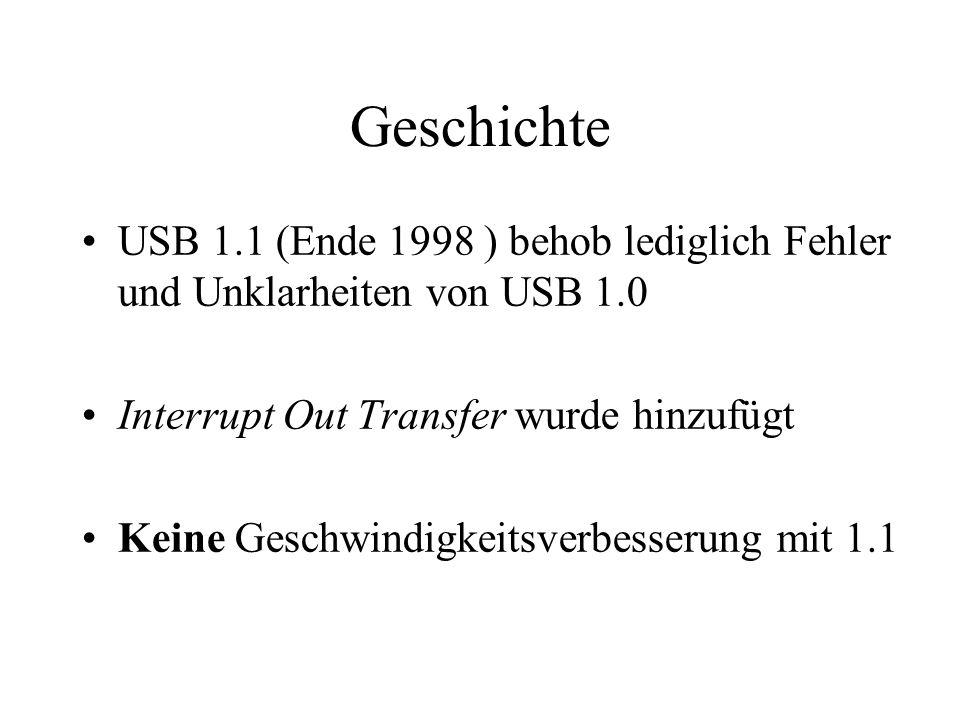 Geschichte USB 1.1 (Ende 1998 ) behob lediglich Fehler und Unklarheiten von USB 1.0 Interrupt Out Transfer wurde hinzufügt Keine Geschwindigkeitsverbe