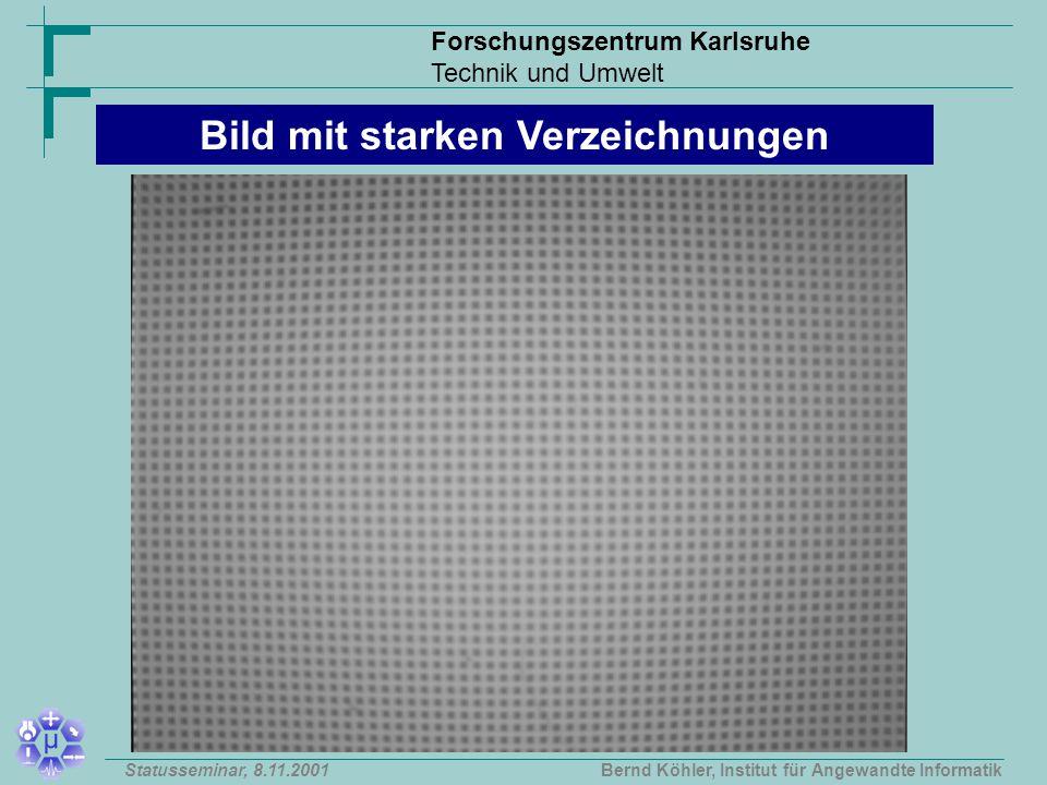 Forschungszentrum Karlsruhe Technik und Umwelt Bernd Köhler, Institut für Angewandte InformatikStatusseminar, 8.11.2001 Bild mit starken Verzeichnungen