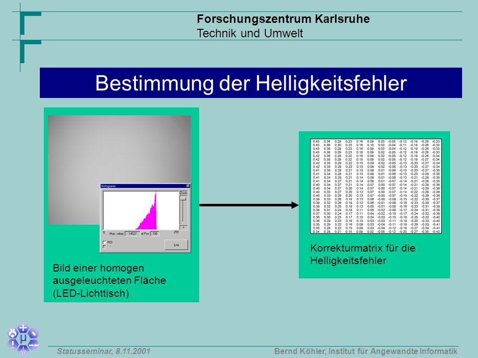 Forschungszentrum Karlsruhe Technik und Umwelt Bernd Köhler, Institut für Angewandte InformatikStatusseminar, 8.11.2001 Bestimmung der Helligkeitsfehler Bild einer homogen ausgeleuchteten Fläche (LED-Lichttisch) Korrekturmatrix für die Helligkeitsfehler
