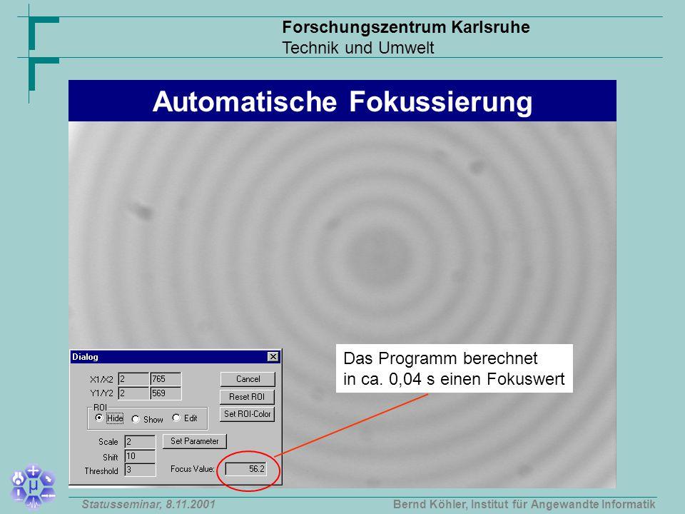 Forschungszentrum Karlsruhe Technik und Umwelt Bernd Köhler, Institut für Angewandte InformatikStatusseminar, 8.11.2001 Das Programm berechnet in ca.