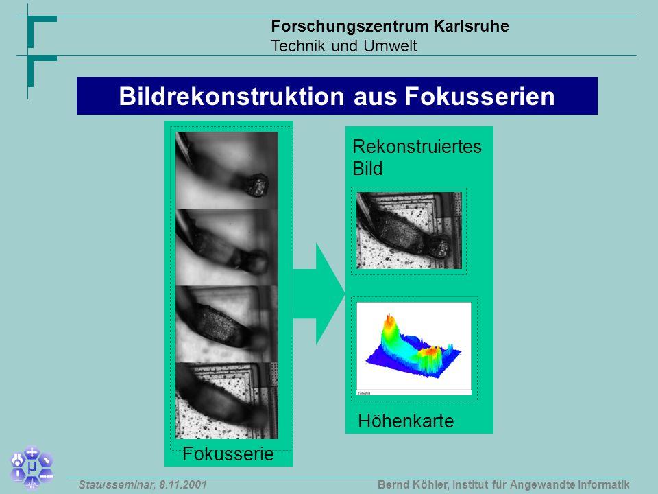 Forschungszentrum Karlsruhe Technik und Umwelt Bernd Köhler, Institut für Angewandte InformatikStatusseminar, 8.11.2001 Bildrekonstruktion aus Fokusserien Fokusserie Rekonstruiertes Bild Höhenkarte