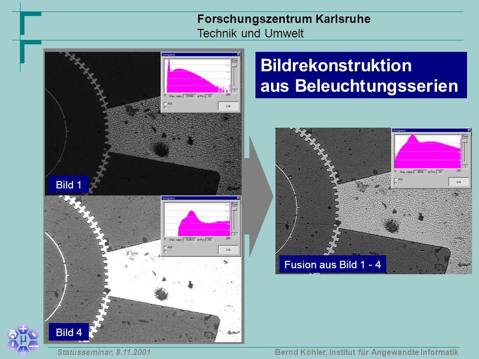 Forschungszentrum Karlsruhe Technik und Umwelt Bernd Köhler, Institut für Angewandte InformatikStatusseminar, 8.11.2001 Fusion aus Bild 1 - 4 Bildrekonstruktion aus Beleuchtungsserien Bild 1 Bild 4