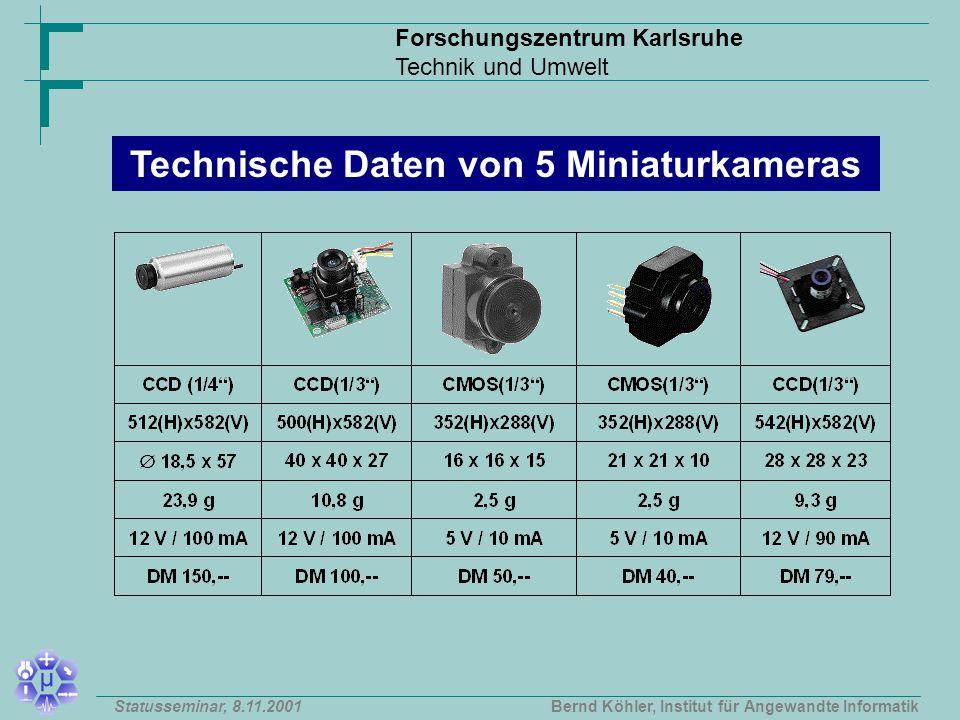 Forschungszentrum Karlsruhe Technik und Umwelt Bernd Köhler, Institut für Angewandte InformatikStatusseminar, 8.11.2001 Technische Daten von 5 Miniaturkameras