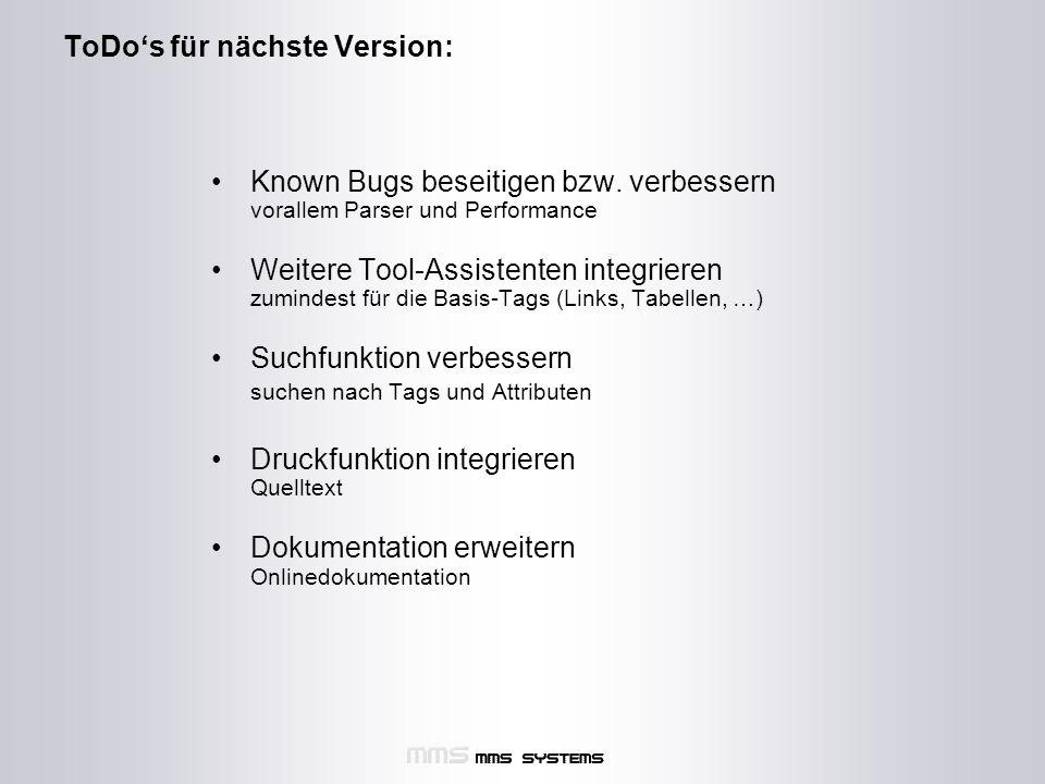 ToDo's für nächste Version: Known Bugs beseitigen bzw.