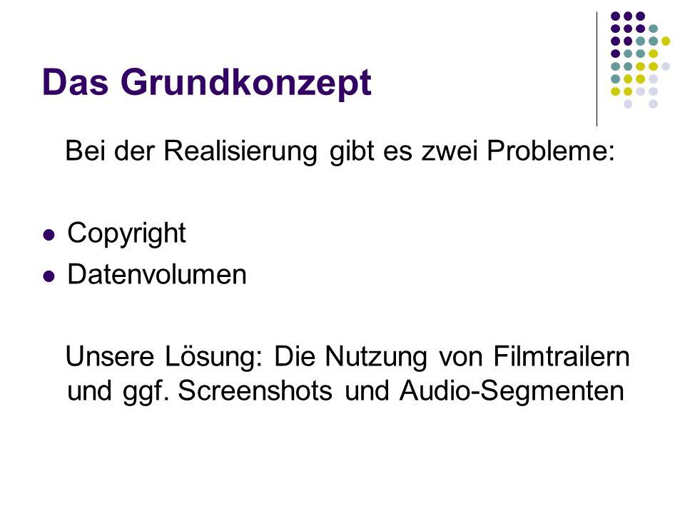 Das Grundkonzept Bei der Realisierung gibt es zwei Probleme: Copyright Datenvolumen Unsere Lösung: Die Nutzung von Filmtrailern und ggf. Screenshots u