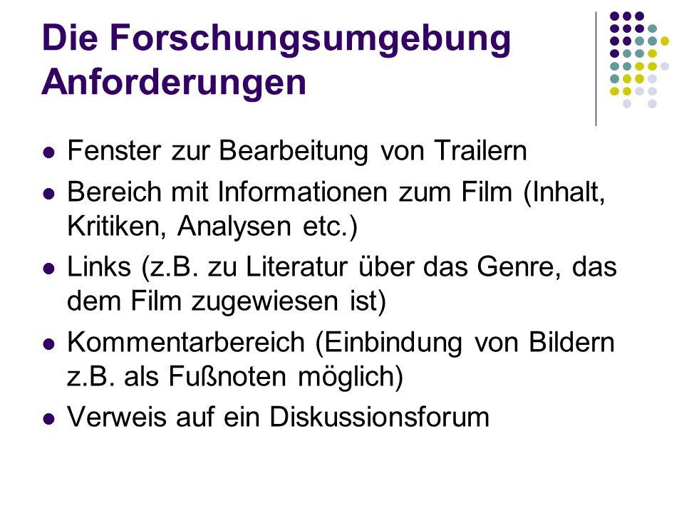 Die Forschungsumgebung Anforderungen Fenster zur Bearbeitung von Trailern Bereich mit Informationen zum Film (Inhalt, Kritiken, Analysen etc.) Links (