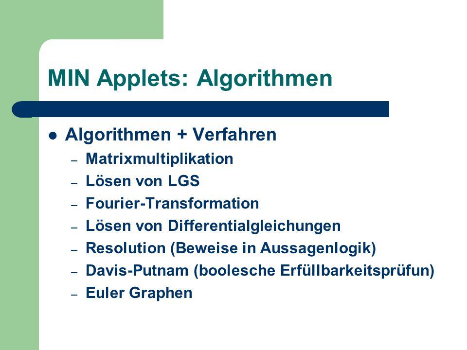 MIN Applets: Algorithmen Algorithmen + Verfahren – Matrixmultiplikation – Lösen von LGS – Fourier-Transformation – Lösen von Differentialgleichungen – Resolution (Beweise in Aussagenlogik) – Davis-Putnam (boolesche Erfüllbarkeitsprüfun) – Euler Graphen