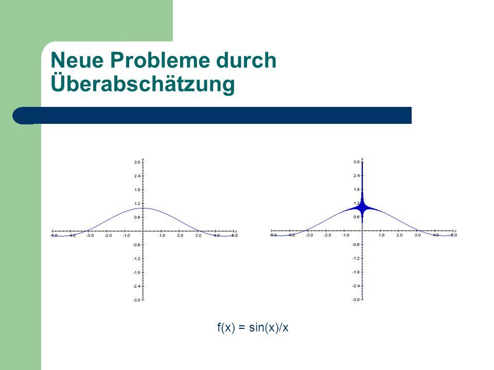 Neue Probleme durch Überabschätzung f(x) = sin(x)/x