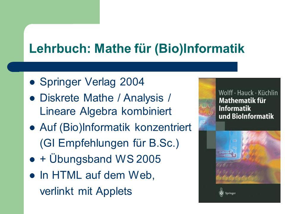Lehrbuch: Mathe für (Bio)Informatik Springer Verlag 2004 Diskrete Mathe / Analysis / Lineare Algebra kombiniert Auf (Bio)Informatik konzentriert (GI Empfehlungen für B.Sc.) + Übungsband WS 2005 In HTML auf dem Web, verlinkt mit Applets