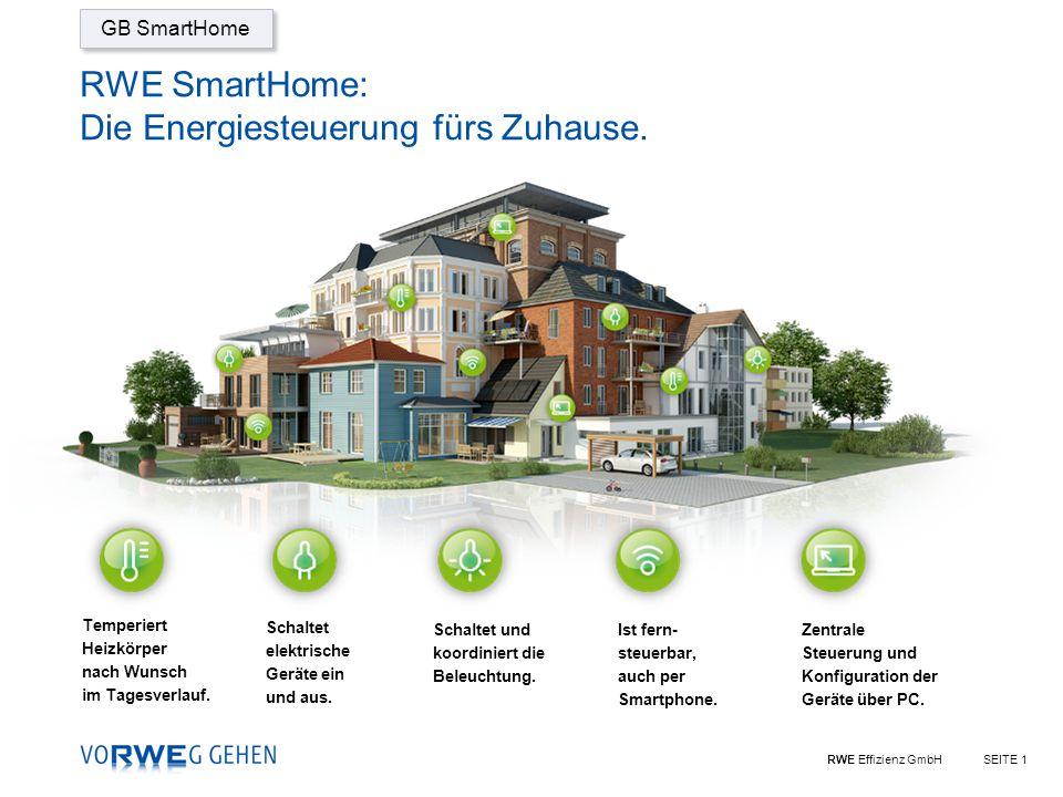 RWE Effizienz GmbHSEITE 1 RWE SmartHome: Die Energiesteuerung fürs Zuhause.