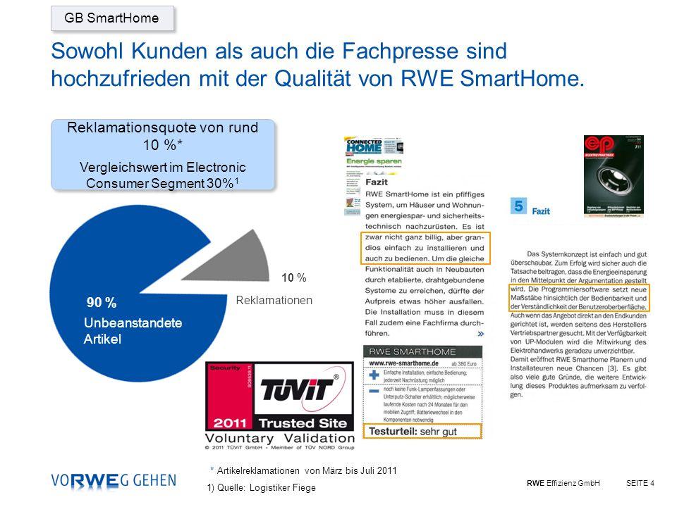 RWE Effizienz GmbHSEITE 4 Sowohl Kunden als auch die Fachpresse sind hochzufrieden mit der Qualität von RWE SmartHome.