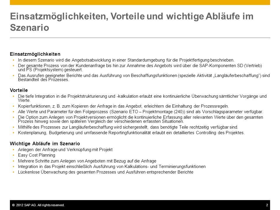 ©2012 SAP AG. All rights reserved.2 Einsatzmöglichkeiten, Vorteile und wichtige Abläufe im Szenario Einsatzmöglichkeiten  In diesem Szenario wird die