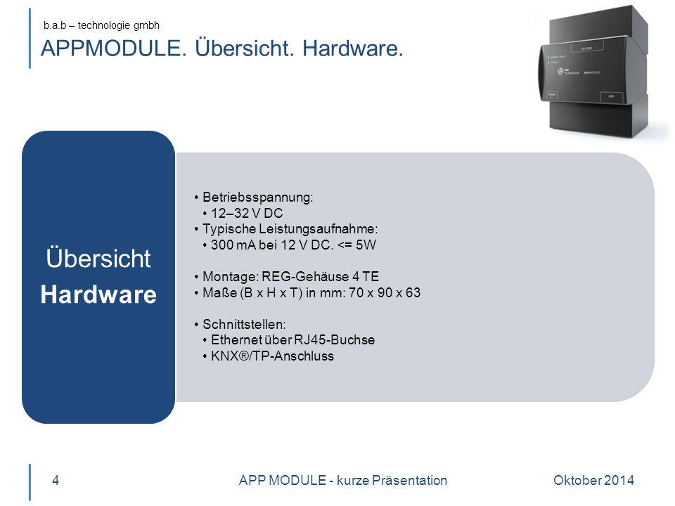 b.a.b – technologie gmbh APPMODULE. Übersicht. Hardware. Betriebsspannung: 12–32 V DC Typische Leistungsaufnahme: 300 mA bei 12 V DC. <= 5W Montage: R