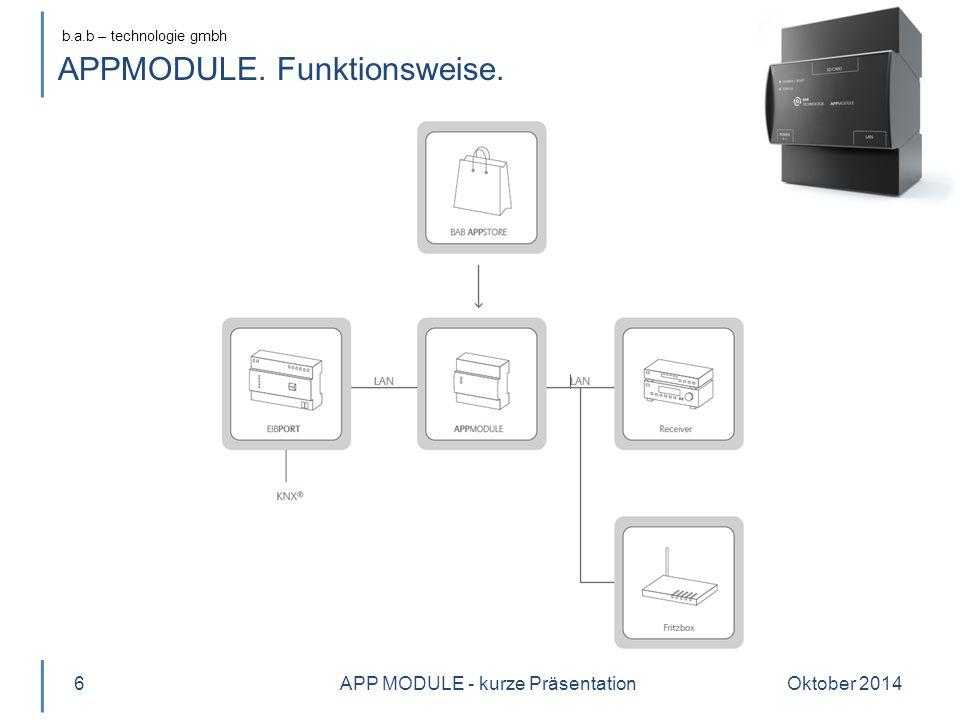b.a.b – technologie gmbh APPMODULE. Funktionsweise. Oktober 2014APP MODULE - kurze Präsentation6
