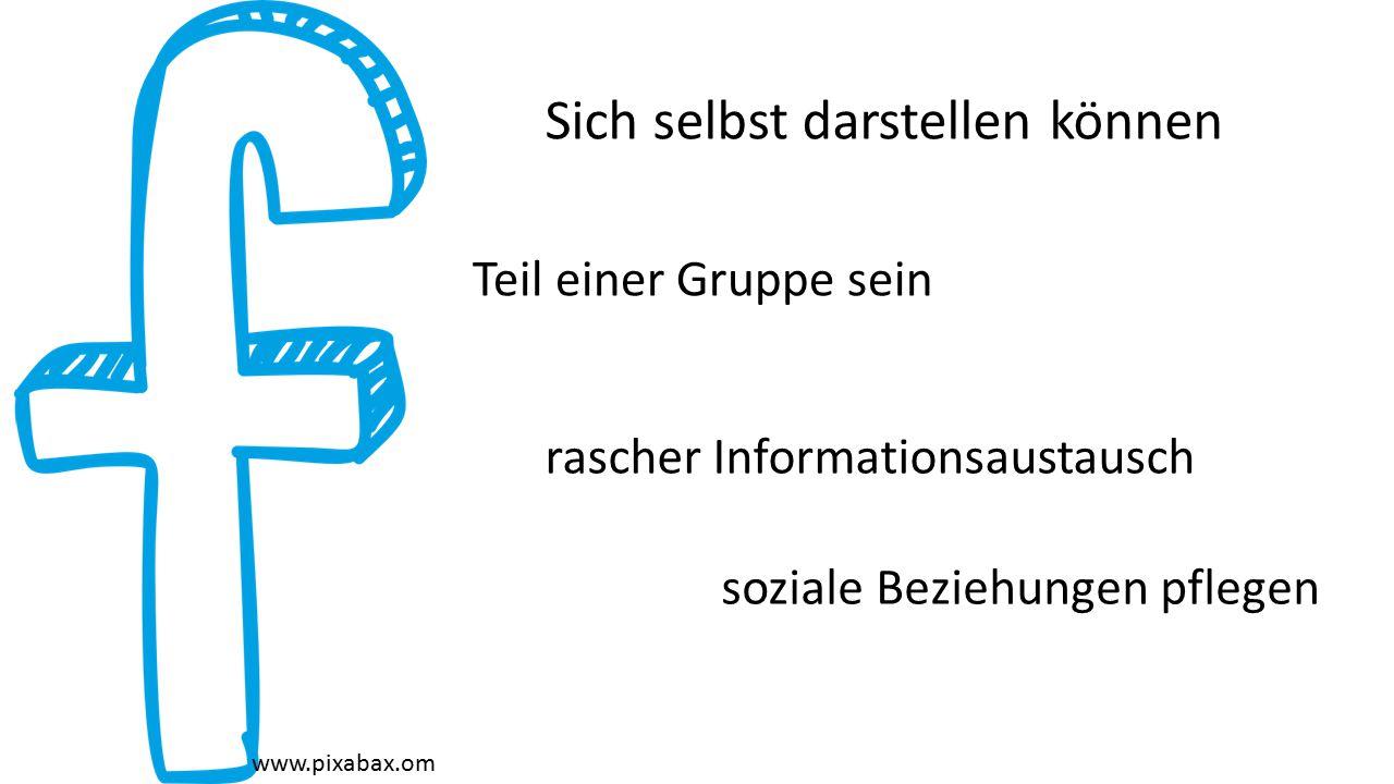 www.pixabax.om Sich selbst darstellen können soziale Beziehungen pflegen Teil einer Gruppe sein rascher Informationsaustausch