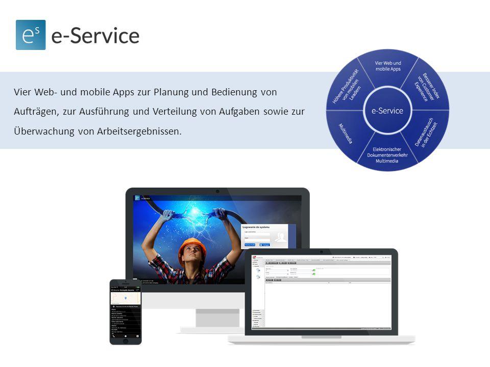 Vier Web- und mobile Apps zur Planung und Bedienung von Aufträgen, zur Ausführung und Verteilung von Aufgaben sowie zur Überwachung von Arbeitsergebnissen.
