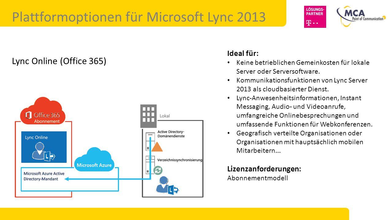 Plattformoptionen für Microsoft Lync 2013 Lync Online (Office 365) Ideal für: Keine betrieblichen Gemeinkosten für lokale Server oder Serversoftware.