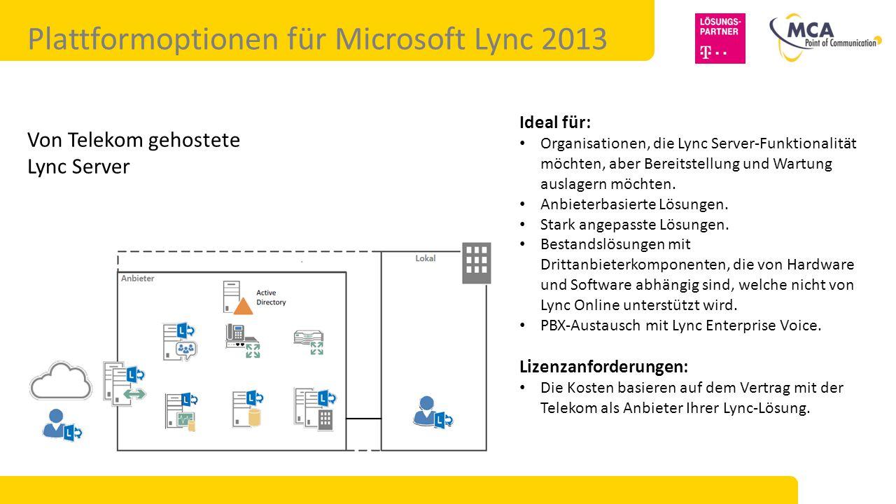 Plattformoptionen für Microsoft Lync 2013 Von Telekom gehostete Lync Server Ideal für: Organisationen, die Lync Server-Funktionalität möchten, aber Bereitstellung und Wartung auslagern möchten.