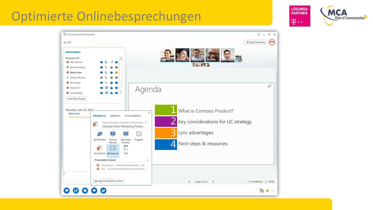 Plattformoptionen für Microsoft Lync 2013 Lync Online / Server-Hybrid (geteilte Domäne) Ideal für: Verwenden von Lync Online für Remotebenutzer und die Integration mit Geschäftspartnern.