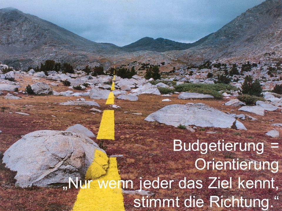 """Budgetierung = Orientierung """"Nur wenn jeder das Ziel kennt, stimmt die Richtung."""""""