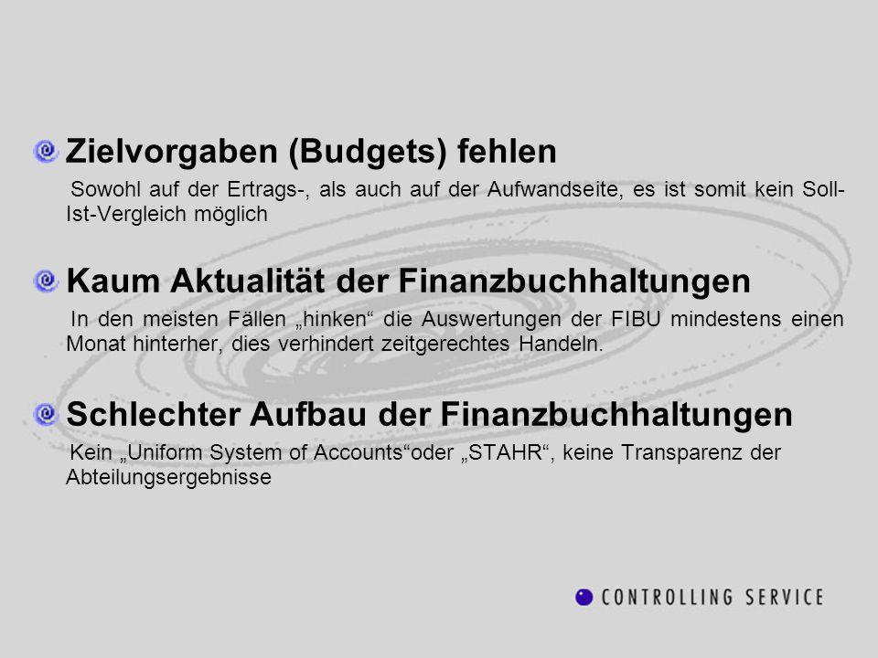 Zielvorgaben (Budgets) fehlen Sowohl auf der Ertrags-, als auch auf der Aufwandseite, es ist somit kein Soll- Ist-Vergleich möglich Kaum Aktualität de