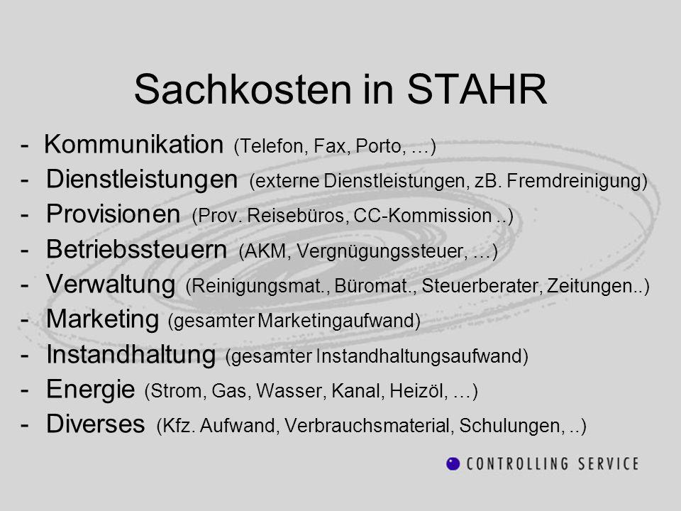 Sachkosten in STAHR - Kommunikation (Telefon, Fax, Porto, …) -Dienstleistungen (externe Dienstleistungen, zB. Fremdreinigung) -Provisionen (Prov. Reis