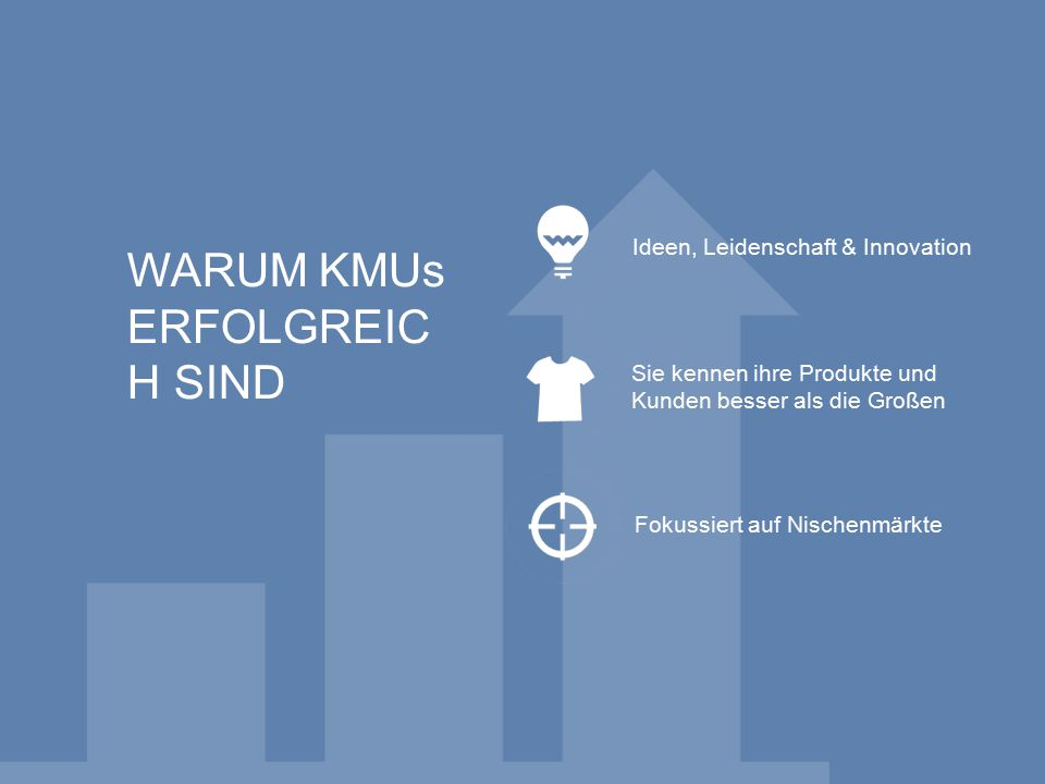 WARUM KMUs ERFOLGREIC H SIND Ideen, Leidenschaft & Innovation Sie kennen ihre Produkte und Kunden besser als die Großen Fokussiert auf Nischenmärkte