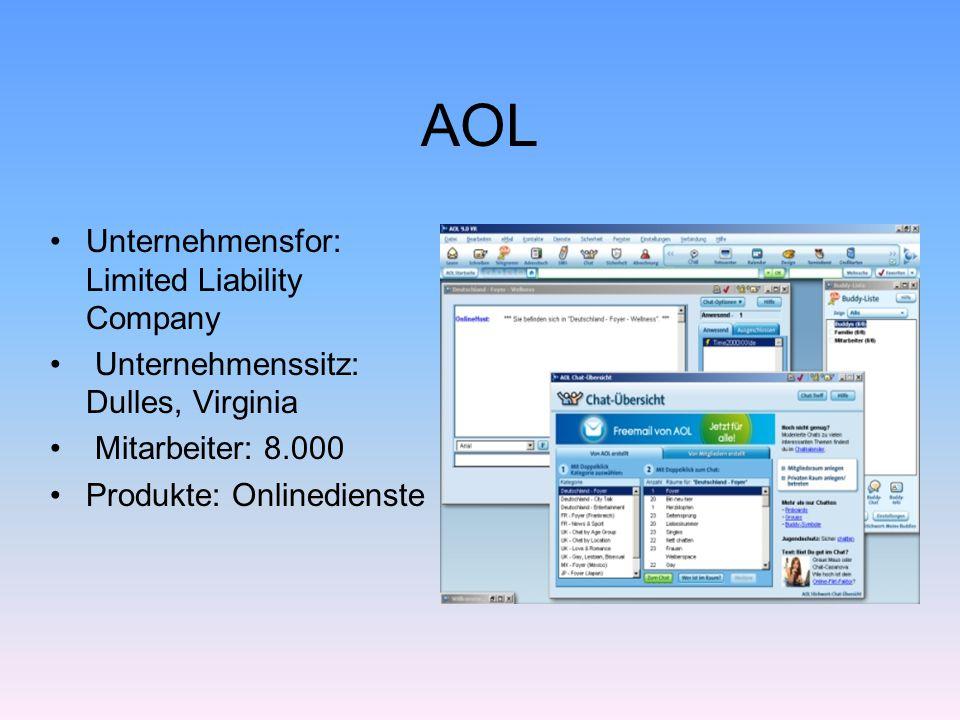 AOL Unternehmensfor: Limited Liability Company Unternehmenssitz: Dulles, Virginia Mitarbeiter: 8.000 Produkte: Onlinedienste