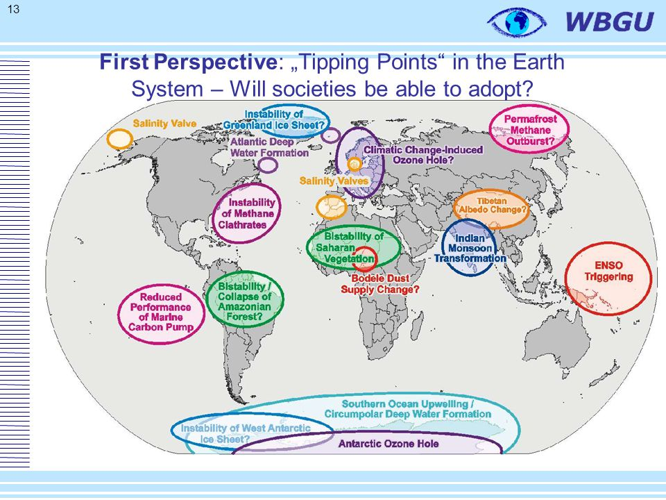 "13 First Perspective: ""Tipping Points in the Earth System – Will societies be able to adopt?"