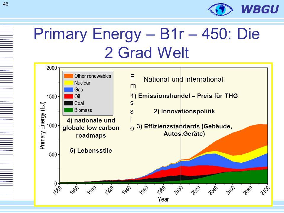 46 Primary Energy – B1r – 450: Die 2 Grad Welt 4) nationale und globale low carbon roadmaps 5) Lebensstile EmissioEmissio National und international: 1) Emissionshandel – Preis für THG 2) Innovationspolitik 3) Effizienzstandards (Gebäude, Autos,Geräte)