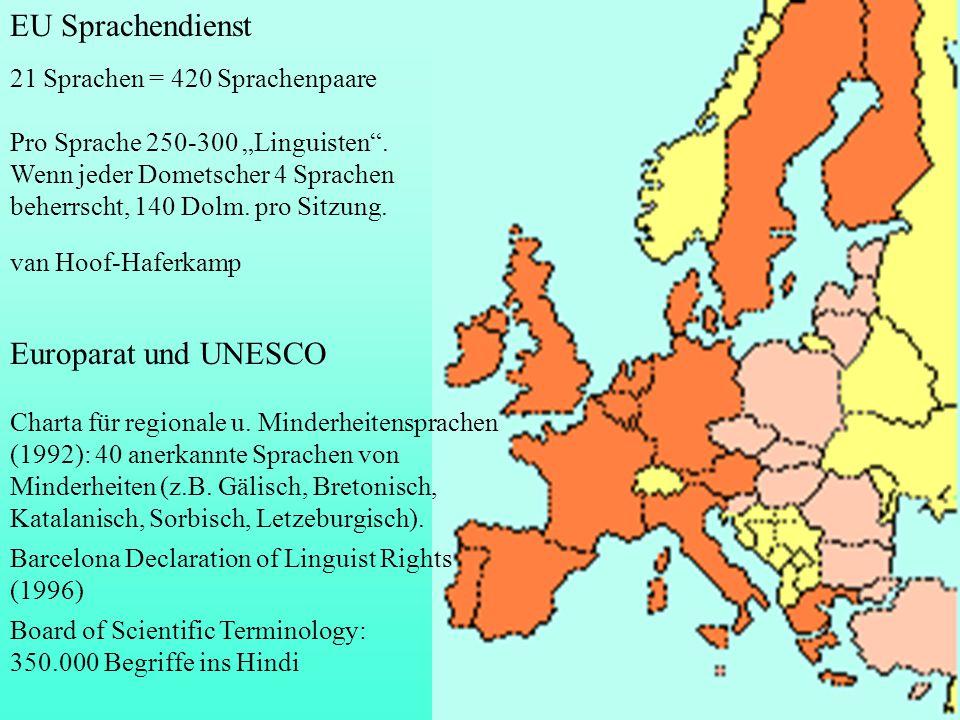 """EU Sprachendienst Europarat und UNESCO 21 Sprachen = 420 Sprachenpaare Pro Sprache 250-300 """"Linguisten"""". Wenn jeder Dometscher 4 Sprachen beherrscht,"""