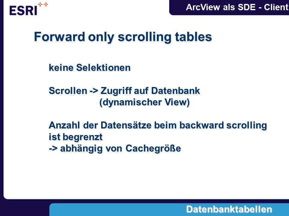 ArcView als SDE - Client Forward only scrolling tables keine Selektionen Scrollen -> Zugriff auf Datenbank (dynamischer View) (dynamischer View) Anzah