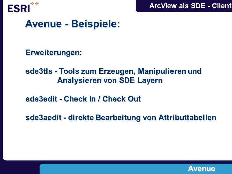 Avenue - Beispiele: Erweiterungen: sde3tls - Tools zum Erzeugen, Manipulieren und Analysieren von SDE Layern sde3edit - Check In / Check Out sde3aedit