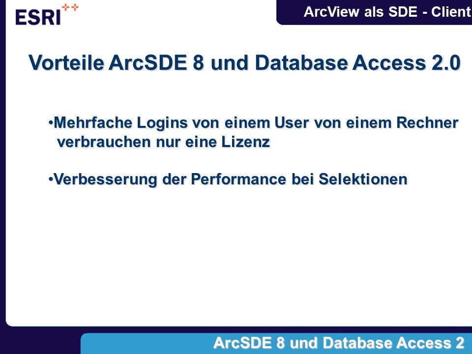 Vorteile ArcSDE 8 und Database Access 2.0 Mehrfache Logins von einem User von einem Rechner verbrauchen nur eine LizenzMehrfache Logins von einem User von einem Rechner verbrauchen nur eine Lizenz Verbesserung der Performance bei SelektionenVerbesserung der Performance bei Selektionen ArcSDE 8 und Database Access 2