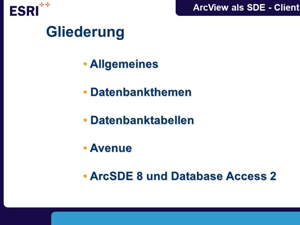ArcView als SDE - Client Gliederung Allgemeines Allgemeines Datenbankthemen Datenbankthemen Datenbanktabellen Datenbanktabellen Avenue Avenue ArcSDE 8 und Database Access 2 ArcSDE 8 und Database Access 2