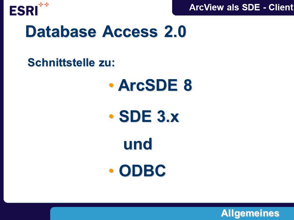 ArcView als SDE - Client Database Access 2.0 Schnittstelle zu: und ODBC ODBC ArcSDE 8 ArcSDE 8 SDE 3.x SDE 3.x Allgemeines