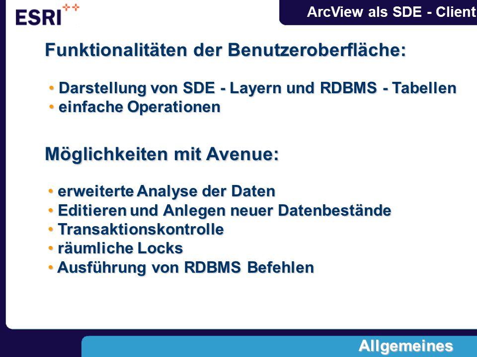 ArcView als SDE - Client Funktionalitäten der Benutzeroberfläche: Möglichkeiten mit Avenue: erweiterte Analyse der Daten erweiterte Analyse der Daten Editieren und Anlegen neuer Datenbestände Editieren und Anlegen neuer Datenbestände Transaktionskontrolle Transaktionskontrolle räumliche Locks räumliche Locks Ausführung von RDBMS Befehlen Ausführung von RDBMS Befehlen Darstellung von SDE - Layern und RDBMS - Tabellen Darstellung von SDE - Layern und RDBMS - Tabellen einfache Operationen einfache Operationen Allgemeines