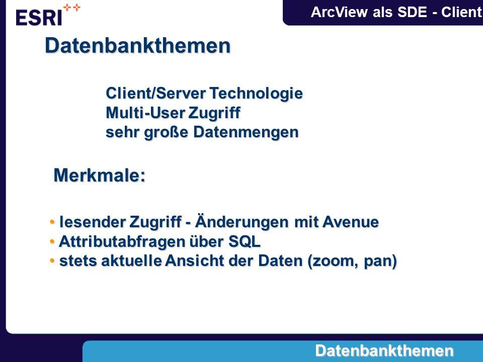 ArcView als SDE - ClientDatenbankthemen Client/Server Technologie Multi-User Zugriff sehr große Datenmengen Merkmale: lesender Zugriff - Änderungen mit Avenue lesender Zugriff - Änderungen mit Avenue Attributabfragen über SQL Attributabfragen über SQL stets aktuelle Ansicht der Daten (zoom, pan) stets aktuelle Ansicht der Daten (zoom, pan) Datenbankthemen