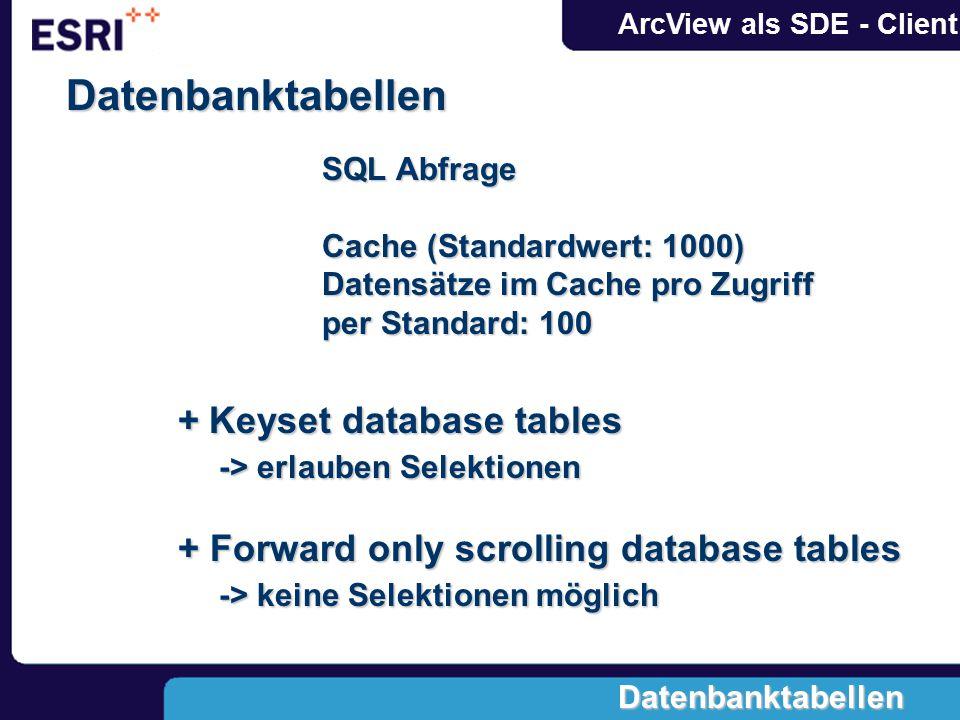 ArcView als SDE - Client Forward only scrolling tables keine Selektionen Scrollen -> Zugriff auf Datenbank (dynamischer View) (dynamischer View) Anzahl der Datensätze beim backward scrolling ist begrenzt -> abhängig von Cachegröße Datenbanktabellen
