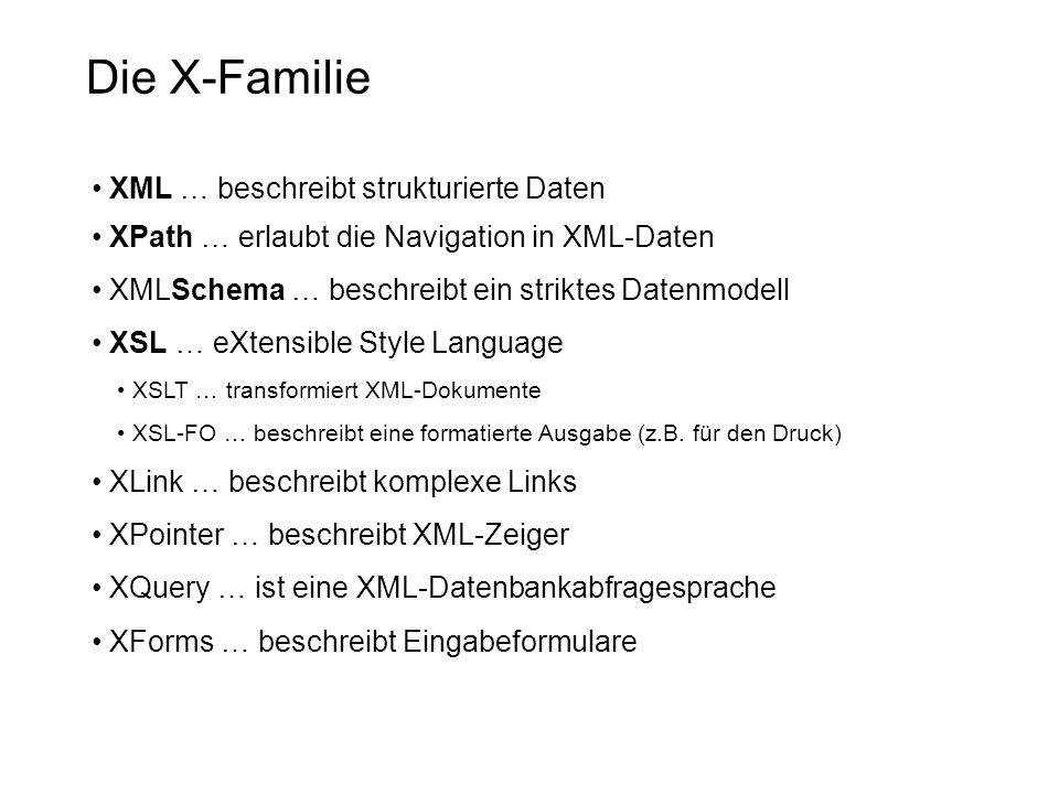 Die X-Familie XML … beschreibt strukturierte Daten XPath … erlaubt die Navigation in XML-Daten XMLSchema … beschreibt ein striktes Datenmodell XSL … e