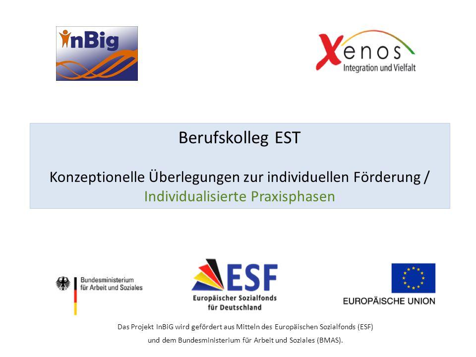 Berufskolleg EST Konzeptionelle Überlegungen zur individuellen Förderung / Individualisierte Praxisphasen Das Projekt InBiG wird gefördert aus Mitteln des Europäischen Sozialfonds (ESF) und dem Bundesministerium für Arbeit und Soziales (BMAS).