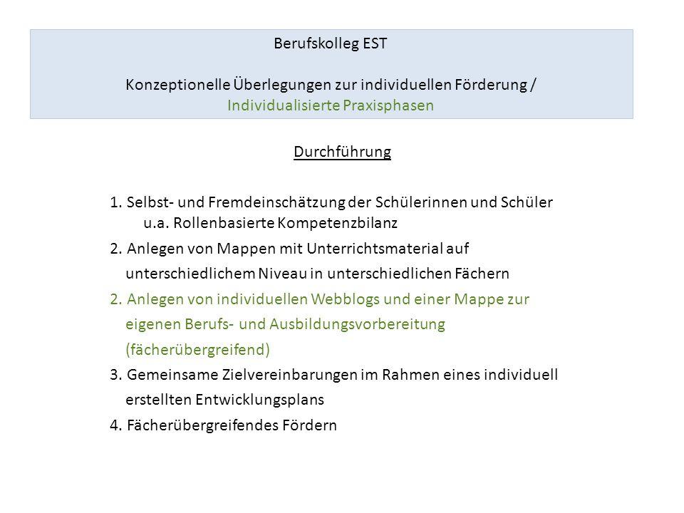 Berufskolleg EST Konzeptionelle Überlegungen zur individuellen Förderung / Individualisierte Praxisphasen 1.