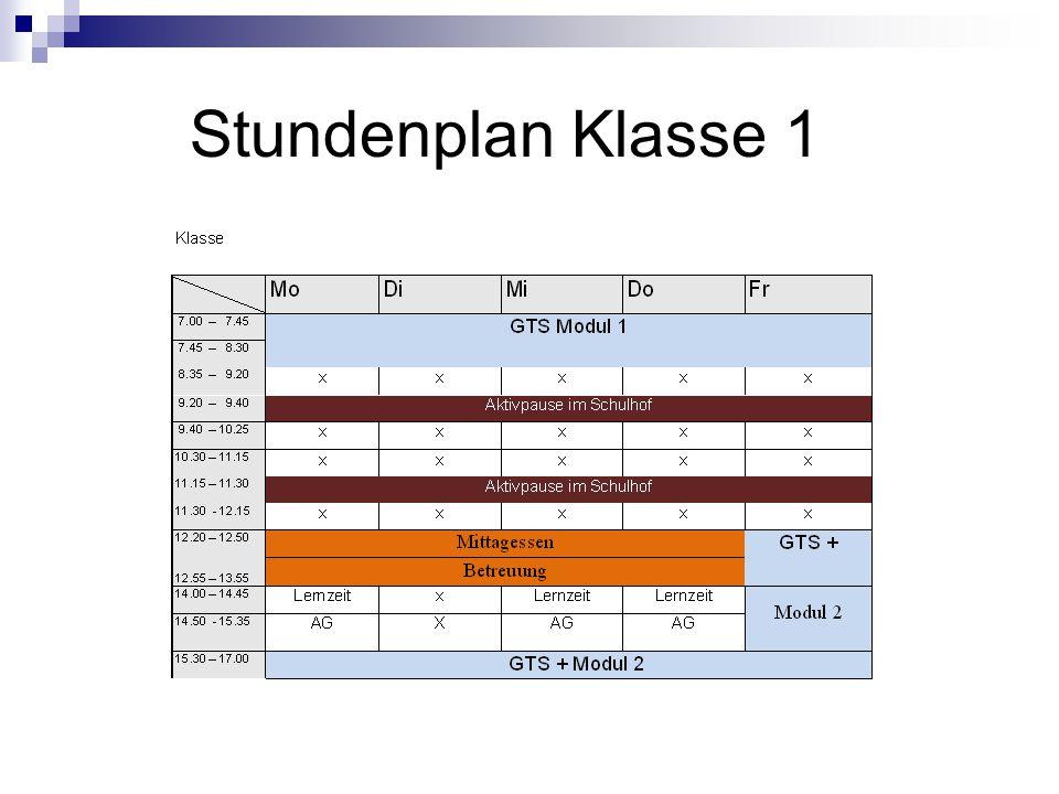 Stundenplan Klasse 1