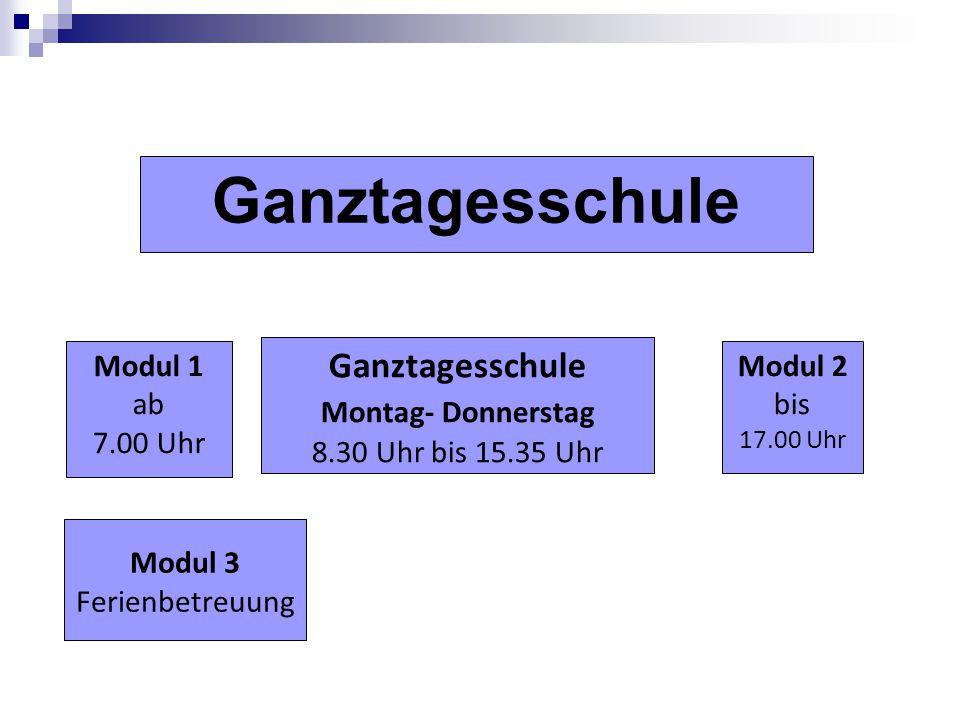 Modul 1 ab 7.00 Uhr Ganztagesschule Modul 2 bis 17.00 Uhr Ganztagesschule Montag- Donnerstag 8.30 Uhr bis 15.35 Uhr Modul 3 Ferienbetreuung