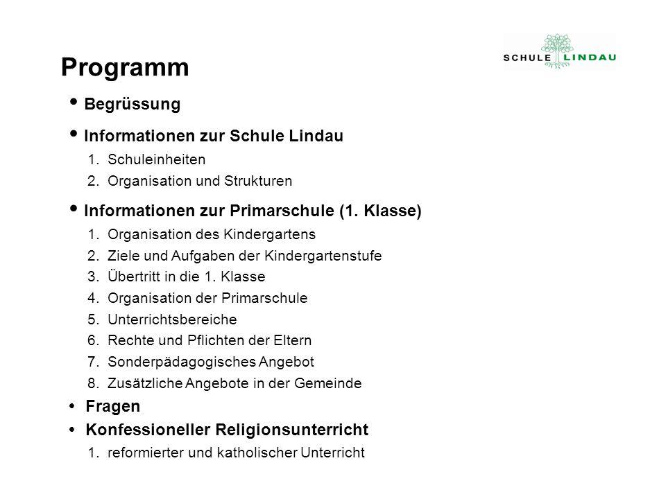  Begrüssung  Informationen zur Schule Lindau 1.Schuleinheiten 2.Organisation und Strukturen  Informationen zur Primarschule (1. Klasse) 1.Organisat