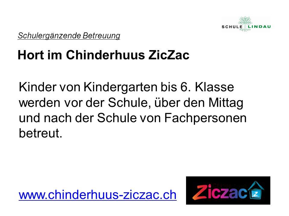 Schulergänzende Betreuung Hort im Chinderhuus ZicZac Kinder von Kindergarten bis 6. Klasse werden vor der Schule, über den Mittag und nach der Schule