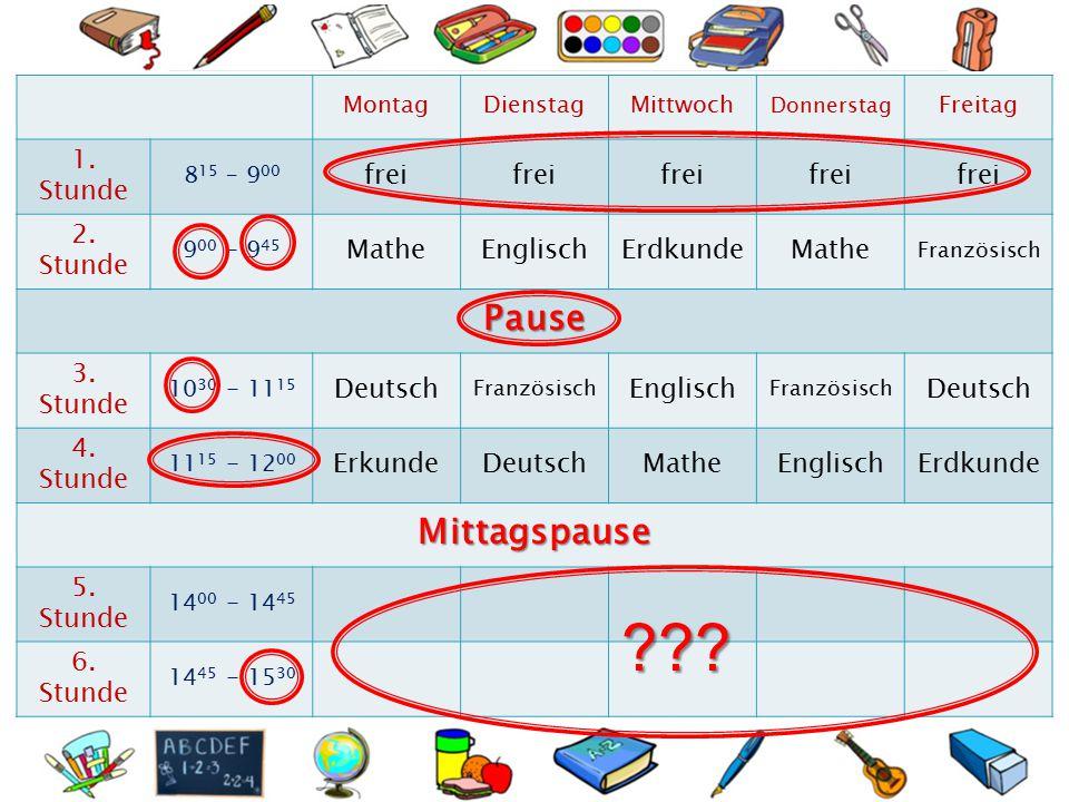 Ein Unterricht dauert …………………………….Minuten. Mein Schultag fängt um …………………………… an.