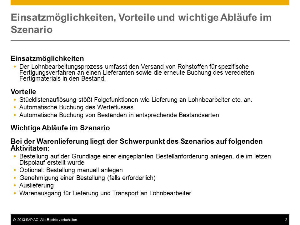 ©2013 SAP AG. Alle Rechte vorbehalten.2 Einsatzmöglichkeiten, Vorteile und wichtige Abläufe im Szenario Einsatzmöglichkeiten  Der Lohnbearbeitungspro
